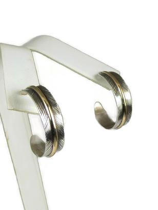 12k Gold & Sterling Silver Feather Hoop Earrings by Lena Platero