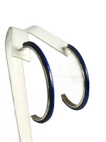 Lapis Inlay Hoop Earrings