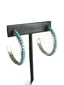 Turquoise Snake Eye Hoop Earrings Zuni