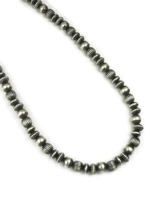 """Mixed Silver Bead Necklace 18"""""""