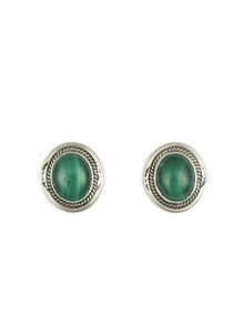 Silver Malachite Post Earrings by Lucy Valencia