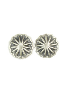 Antiqued Silver Concho Earrings by Harris Joe