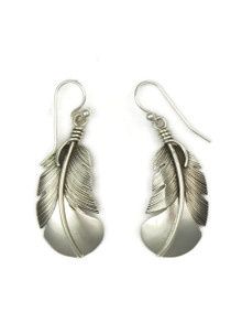 "Sterling Silver Feather Earrings 1 3/4"" by Lena Platero (ER3718)"
