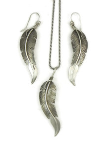Silver Feather Earring & Pendant Set by Lena Platero