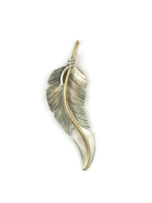12k Gold & Sterling Silver Feather Pendant by Lena Platero (PD4864)