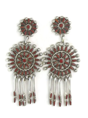 Mediterranean Coral Needle Point Cluster Earrings by Vincent Johnson