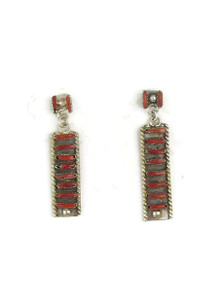 Mediterranean Coral Needle Point Earrings by Zuni Ophelia Soseeah