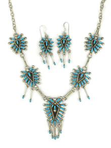 Turquoise Needle Point Necklace Set by Zuni Keith Leekity