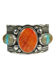 Spiny Oyster Shell & Royston Boulder Turquoise Cuff Bracelet by Guy Hoskie