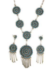 Turquoise Petit Point Cluster Necklace & Earring Set by Zuni Tricia Leekity