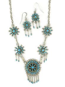 Turquoise Needle Point Cluster Necklace Set by Keith Leekity