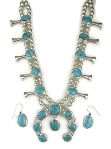 Sierra Nevada Turquoise Squash Blossom Necklace Set by Evelyn Bahe