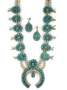 Turquoise Petit Point Squash Blossom Necklace Set by Zuni Evangeline Tsabetsaye