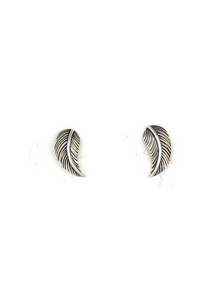 Small Silver Feather Post Earrings by Jerry Platero