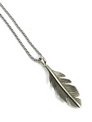 Broad Silver Feather Earring & Pendant Set by Lena Platero