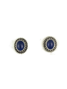 Silver Lapis Gallery Wire Post Earrings