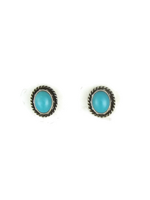 Silver Turquoise Gallery Wire Post Earrings (ER3641)