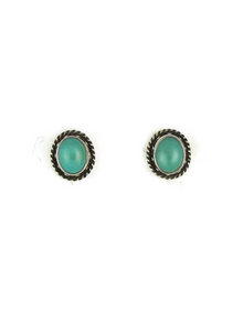 Silver Turquoise Gallery Wire Post Earrings (ER3642)