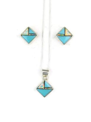 Turquoise jet opal inlay earring pendant set southwest silver turquoise jet opal inlay earring pendant set aloadofball Images