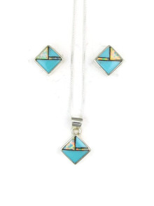 Turquoise, Jet & Opal Inlay Earring & Pendant Set