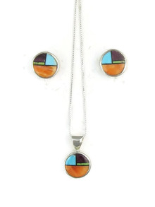 Multi Gemstone Inlay Earring & Pendant Set