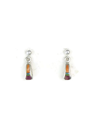 Multi Gemstone Small Loop Inlay Earrings