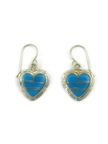 Turquoise Inlay Heart Earrings by Esther Spencer