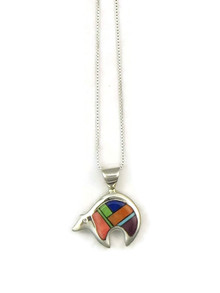 Multi Gemstone Inlay Reversible Bear Pendant