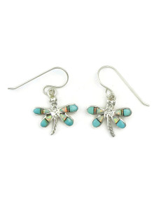 Turquoise, Jet & Opal Inlay Dragonfly Earrings