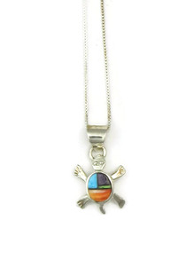 Multi Gemstone Inlay Turtle Pendant