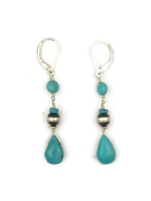 Turquoise & Silver Bead Dangle Earrings
