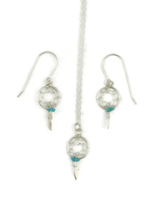Sterling Silver Turquoise Dream Catcher Earring & Pendant Set (ER3654)
