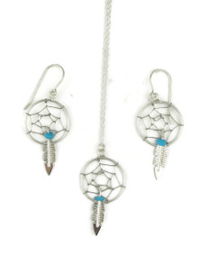 Sterling Silver Turquoise Dream Catcher Earring & Pendant Set (ER3655)