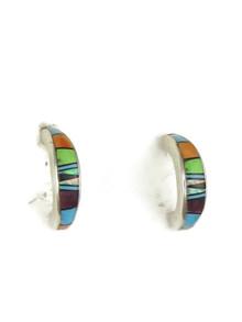 Multi Gemstone Inlay Hoop Earrings (ER3656)