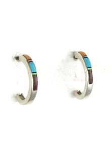 Multi Gemstone Inlay Hoop Earrings (ER3657)