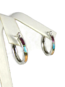 Multi Gemstone Inlay Hoop Earrings with Latch Back Closure