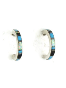 Turquoise, Jet & Opal Inlay Hoop Earrings (ER3659)