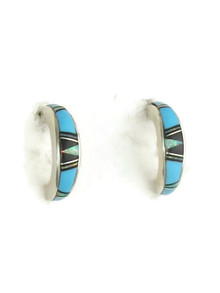 Turquoise, Jet & Opal Inlay Hoop Earrings (ER3660)