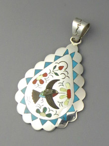 Hummingbird Inlay Pendant by Zuni Samuel Guardian