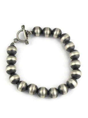Antiqued 10mm Silver Bead Bracelet with Toggle Closure
