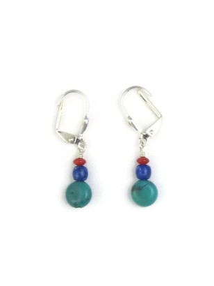 Dainty Turquoise, Lapis & Coral Bead Earrings with Lever Backs