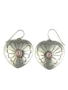 Pink Mother of Pearl Silver Heart Earrings