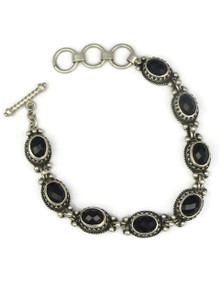 Faceted Onyx Gallery Wire Link Bracelet