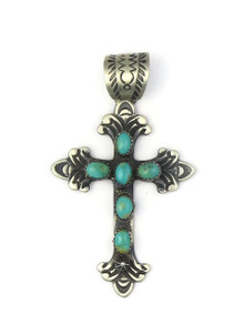 Hand Stamped Turquoise Cross Pendant