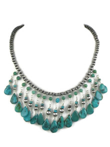 Silver Beaded Turquoise Necklace