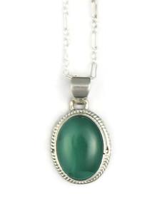 Silver Malachite Pendant by Margaret Platero