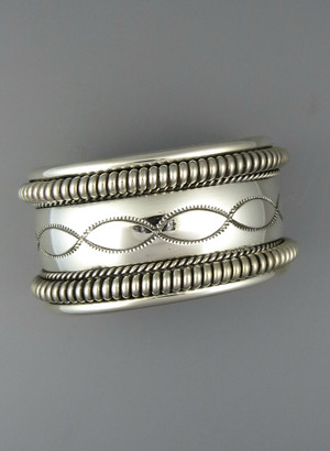 Hand Stamped Silver Cuff Bracelet by Elaine Tahe