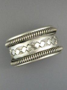 Hand Stamped Silver Cuff Bracelet by Elaine Tahe (BR5647)