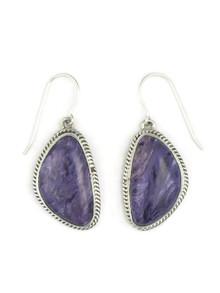 Silver Charoite Earrings by Lena Platero