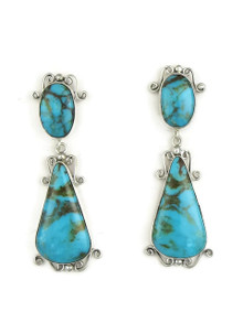 Kingman Turquoise Earrings by Les Baker Jewelry